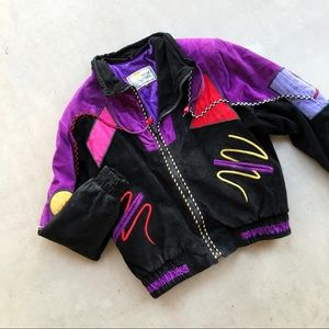VINTAGE 80s 90s Multicolor Suede Leather Jacket